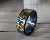 Man Wedding Band Oxidized Fine Silver and 18K Gold 8.5mm Width Alternative Wedding Band Bimetal Black Gold Ring or Commitment Ring