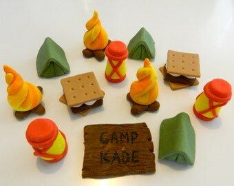 One dozen fondant cupcake toppers - Camping theme