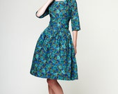1950s green dress, floral dress, boat neck dress, plus size dress by Mrs Pomeranz
