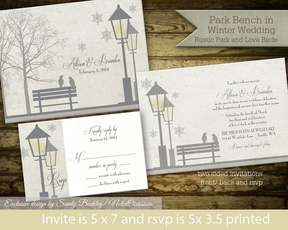 Rustic Winter Wedding Invitations: Winter Wedding Invitation Set Rustic Lantern By NotedOccasions