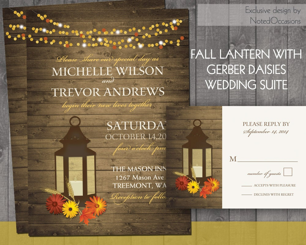 Country Rustic Wedding Invitations: Fall Wedding Invitation Rustic Lantern Country Wedding