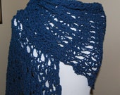 Navy Blue Cotton Crochet Shawl