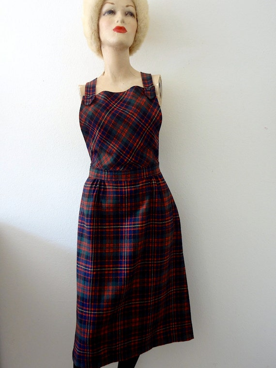 1970s Dress / 40s style wool blend pinafore / plaid jumper / vintage preppy fall fashion