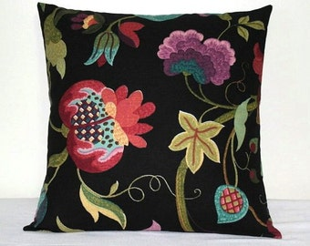 Black Floral Richloom Pillow, 18 x 18 inch Toss Pillow, Purple, Turquoise, Red Cushion Cover