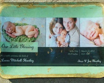 5x8in Custom Birth Announcement Decoupage Plate