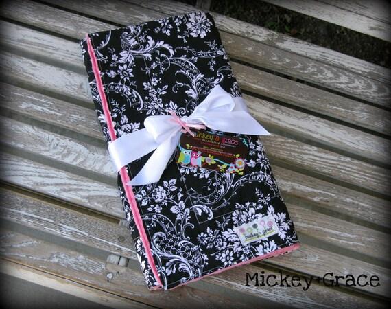 Baby Girl Blanket in Black and White Damask/ Pink Minky ... Baby Girl Shower Gift