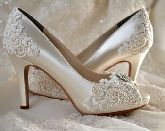 "Wedding Shoes - Custom 120 Color Choices- PB525A Vintage Wedding Lace Peep Toe 3 1/4"" Heels, Women's Bridal Shoes"
