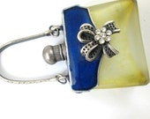 reserved CHRYSTAL Enamel silver GLASS theme rhinestone perfume PURSE scent bottle