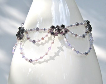 Purple And Lavender Collar Statement Necklace, Mother's Day Gift, Vintage Inspired, Boho Style, Bridal Style, Prom Style, High Fashion Style