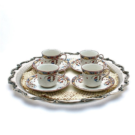 """Antique Demi Cups and Saucers Set of Four 1920s """"Kew"""" by Meakin Ltd. England Porcelain"""