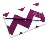 Business Card Holder - Purple and White Chevron Card Case Employee Gifts Gifts For Her