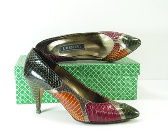 j. renee snake skin stiletto heels shoes womens 7.5 b m green silver brown burgundy pumps