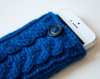 Cobalt Blue Double Cable Knit Phone Case (iPhone 3/4/4S/5/5S/5C/6/6+/7/7+)
