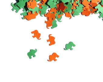 Elephants Confetti Green Orange 450 Pieces