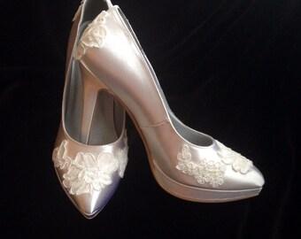 Lace Bridal Platform Pumps, Lace Bridal Wedding Shoes, Custom Bridal Satin Lace Bridal Shoes Shoes