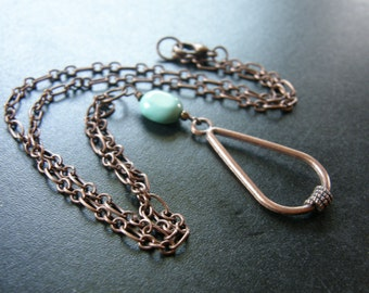 Love Knot Necklace in Aged Copper w/Turquoise