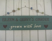 Personalized Garden Sign - Rustic Wood Sign - Family Sign - Grown with Love
