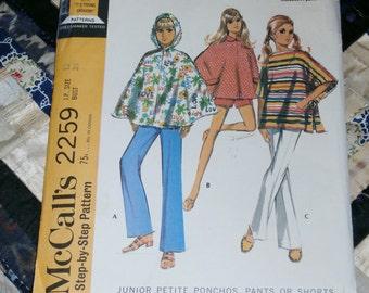 """Vintage 1970 McCalls Pattern 2259 for Junior Petite Ponchos, Pants or Shorts, Size 13, Bust 35"""", Uncut"""