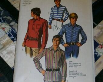 """Vintage 1970 Simplicity Pattern 8950 for Mens Sport Shirt, Size 42, Chest 42"""", Waist 36"""", Uncut"""