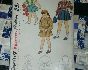 """Vintage 1940s Simplicity Pattern 2218 for Girls Lumber jacket and Suspender Skirt Size 4, Breast 23"""", Waist 21"""""""