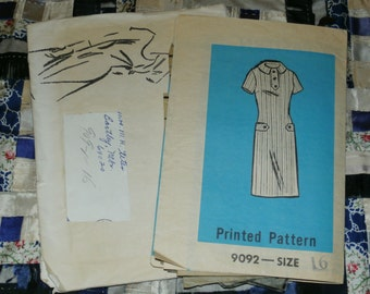 "1960s Mail Order Pattern 9002 Misses Dress Size 16, Bust 36"" Waist 28"", Hip 38"""