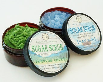 MEN'S Natural Sugar Scrub - Choose Your Scent, handmade body scrub, face, feet, back, man, masculine, men