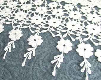 Bridal WHITE Long 6 Inch Venise Lace Falling Flowers Trim - 1 yard