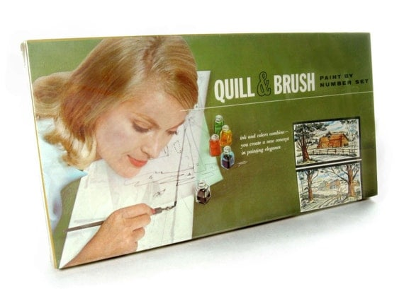 Vintage Paint By Number Kit / Quill & Brush 1960s / Unopened Factory Sealed Box / Country Landscapes