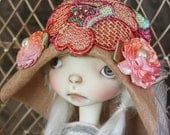 Peach Trim MSD Sized Flapper Style Hat With Hand Dyed Floral Motif & Rosettes For Ball Jointed Dolls