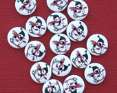 20 Snowman Buttons Painted Wood Snowman on Skiis 15mm BUT230