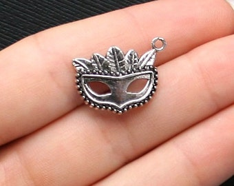 5 Mask Charms Antique  Silver Tone - SC1454