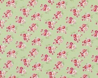 Tanya Whelan, Rosey, Shabby Chic, Fabric by the Yard, Cherry Blossom Green, One Yard