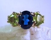 Three Stone Custom Gemstone Ring Sterling Silver Handmade Fine jewelry blue white topaz opal green apatite peridot purple amethyst mothers