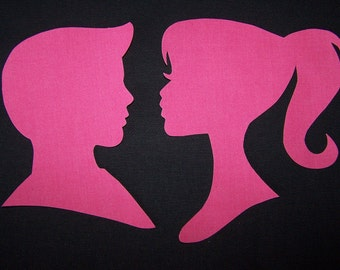 Barbie and Ken Patch, Barbie and Ken Iron on. Barbie Fabric Iron On Appliques. Barbie craft you can Iron On, Barbie and Ken Silhouettes