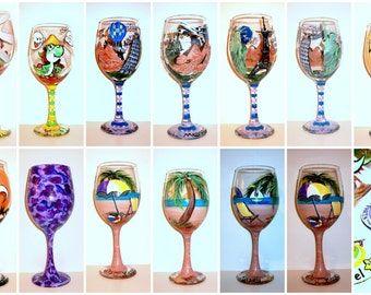 Custom Hand Painted Wine Glasses For Birthday, Anniversary, Wedding, Graduation, Mothers day, Fathers Day, Engadgment, Get Well