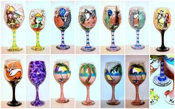 Custom hand painted wine glasses for birthday anniversary wedding