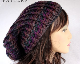Crochet Hat Pattern, Slouchy Beanie, Sundown Super Slouchy Hat
