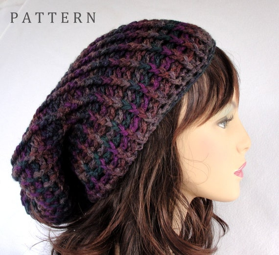 Crochet Patterns Slouchy Beanie : Crochet Hat Pattern Slouchy Beanie Sundown Super Slouchy Hat Etsy