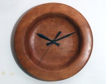 Turned Wood Clock, Wall Clock, Large Cherry Clock