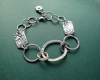 Fine Silver Circle and PMC Bracelet Handmade