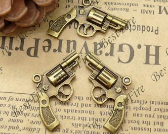 12PCS Of  24x30MM Antique Bronze Charm Pendant,metal finding,pendant beads,jewelry findings,Huge Gun Charm Pendant Antique Bronze Tone 3D