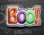 """Halloween """"Boo!"""" Feltie Clippie Hairbow Snap Clip"""