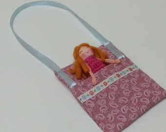 Girl Finger Puppet with Bed Pocket Carry, Small Doll, Blue, Pink, Orange