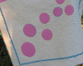 On SALE Bubbles Quilt for Young Girl or Baby with Appliqued Circles in Soft Pink, Green, Cream, Yellow and Blue
