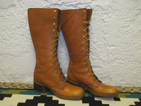 70s camel brown leather lace up hippie campus boots sz 8 like frye zodiac