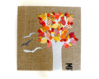 SALE - Autumn Flight -- Burlap Art, 12 x 12 inch -- Ready to ship