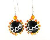 Halloween Earrings, Black Lampwork Earrings, Ghost Earrings, Glass Bead Earrings, Beadwork Earrings,  Lampwork Jewelry