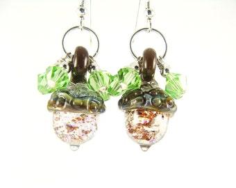 Acorn Earrings, Lampwork Earrings, Transparent Dangle Earrings, Glass Bead Jewelry, Unique Beadwork Earrings, Lampwork Jewelry