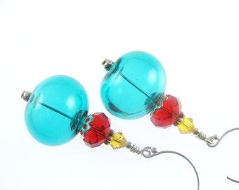 Handmade Lampwork Earrings, Glass Bead Earrings, Teal Green Earrings, Dangle Drop Beadwork Earrings, Lampwork Jewelry, Glass Bead Jewelry