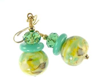 Teal Glass Bead Earrings, Green Lampwork Earrings, Yellow Dangle Earrings, Lampwork Jewelry, 14K Gold Filled Bead Earring, Beadwork Earrings